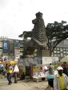 Lion statue outside of the National Theatre in Addis Ababa