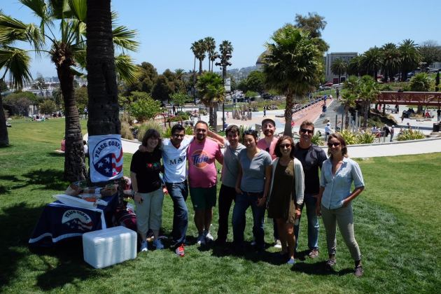 San Francisco area RPCVs and Peace Corps staff gather in Dolores park for a Pride Month picnic on Sunday, June 12, 2016.